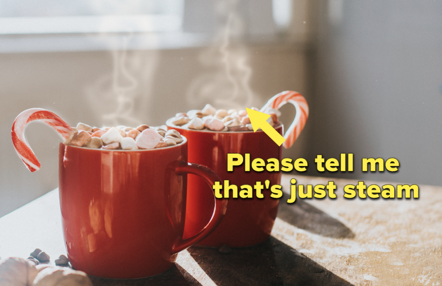 A steaming cup of hot cocoa