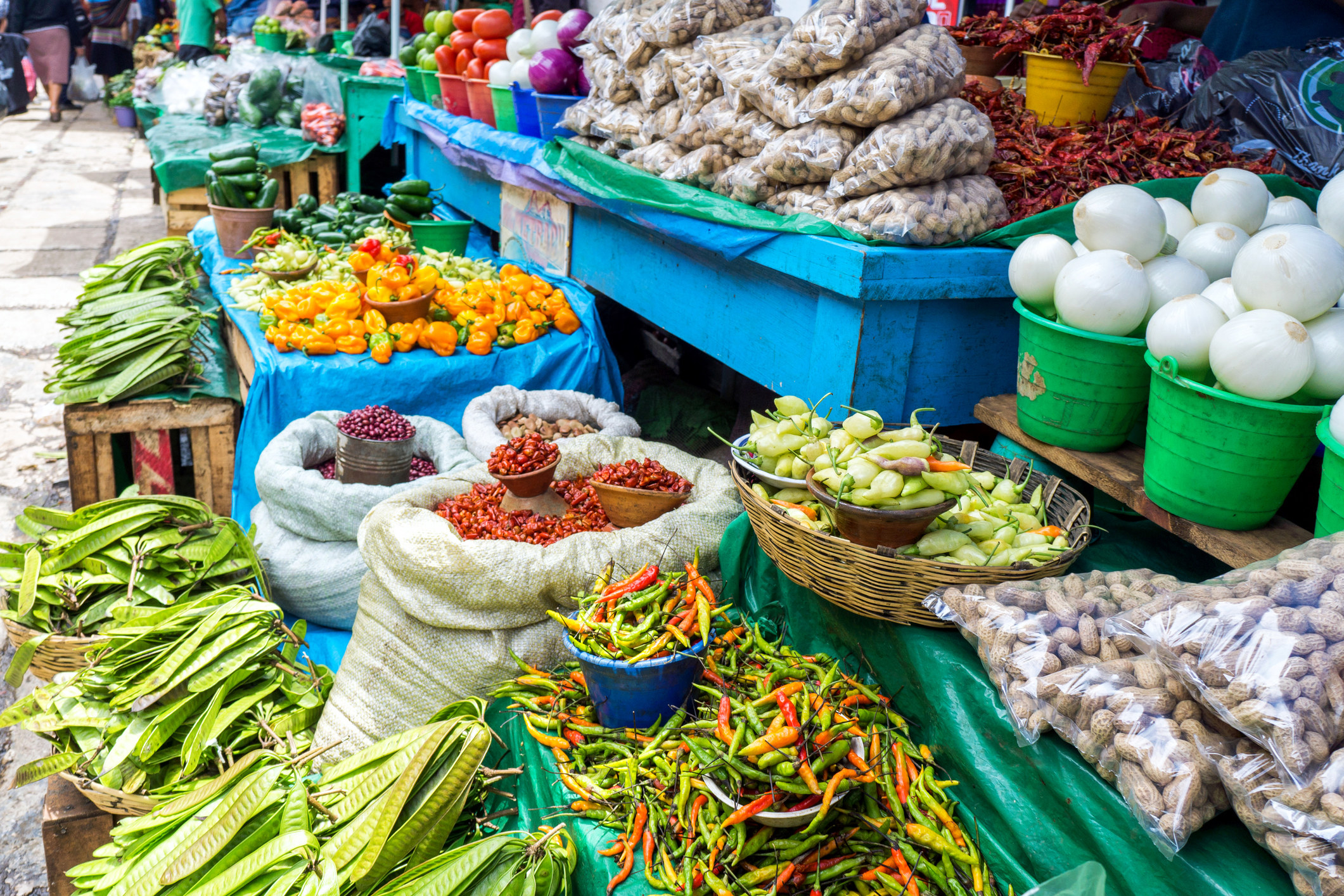 A Mexican open-air market with produce