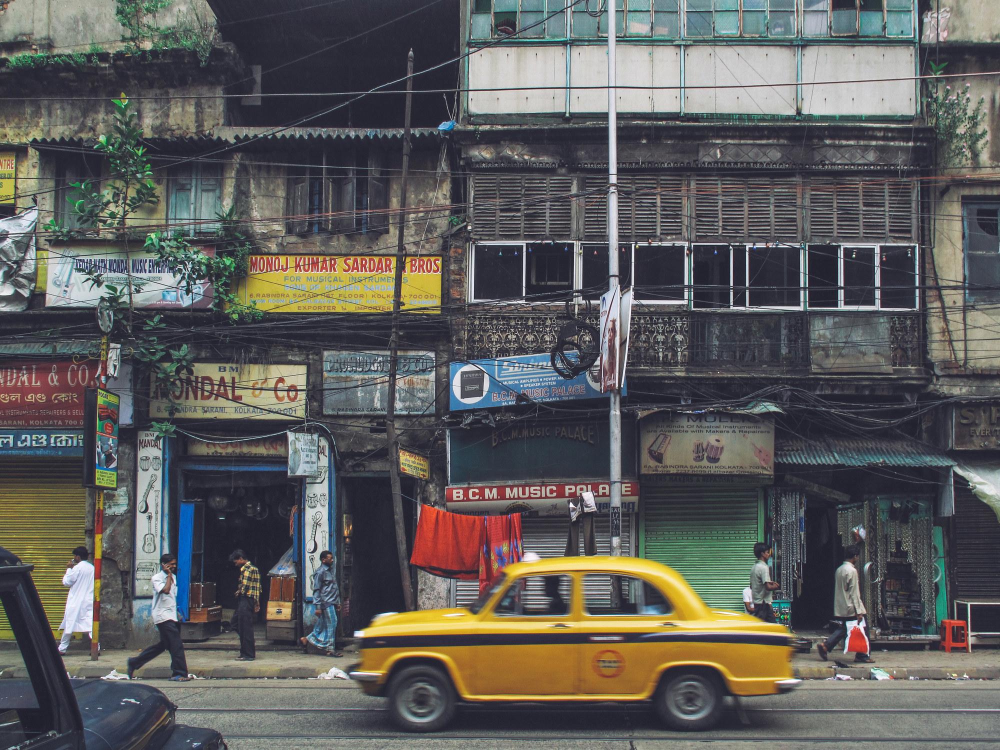 A taxicab on a city street