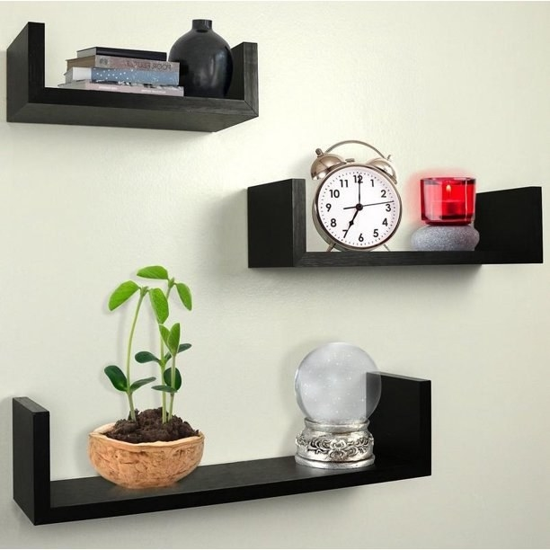 The set of three espresso floating shelves