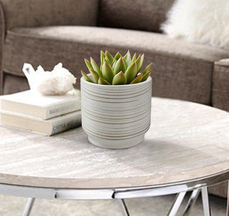 Theweather-resistant round white ceramic planter