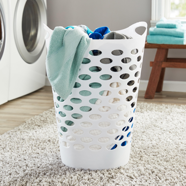 Theflexible white laundry hamper