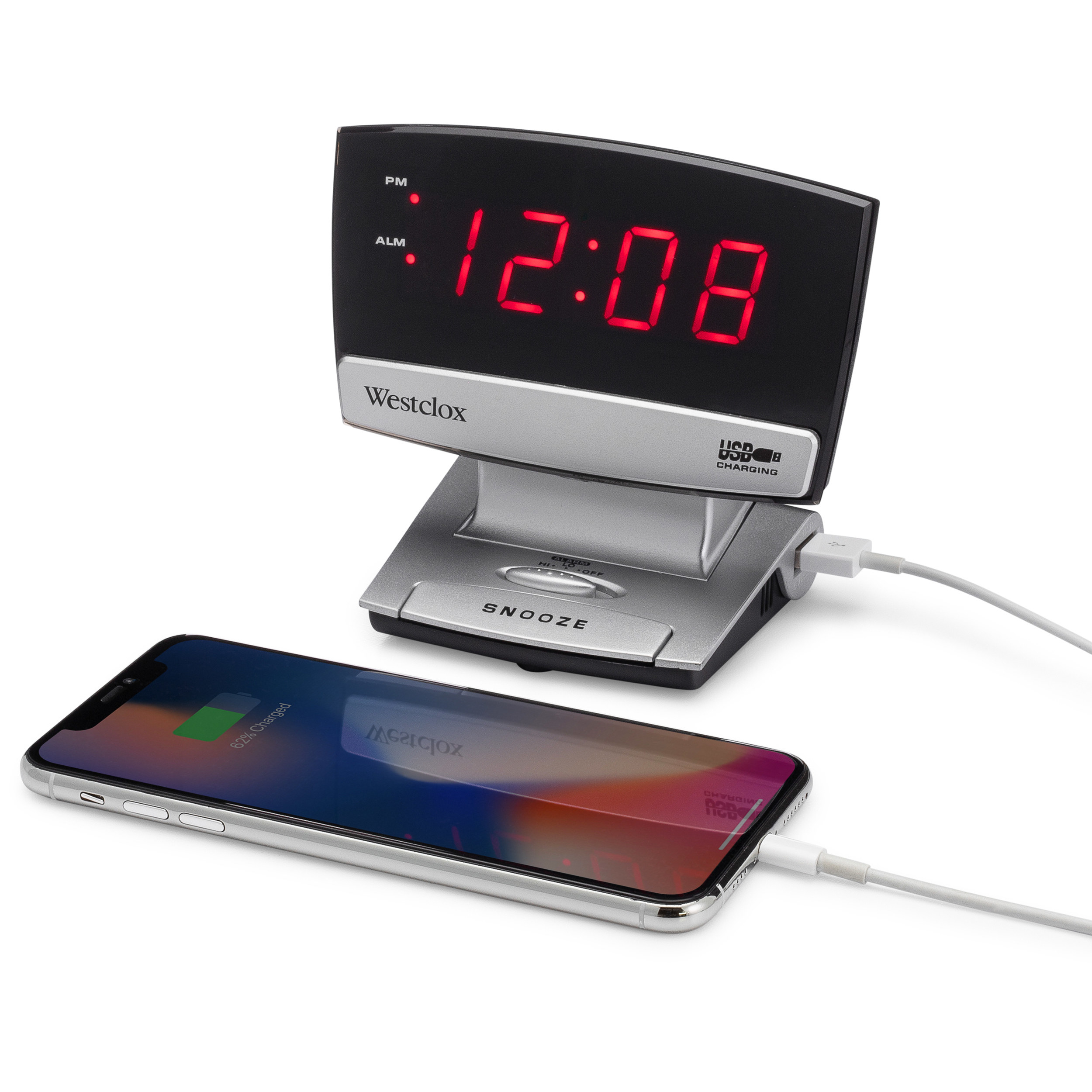 TheLED display alarm clock with a USB charging port