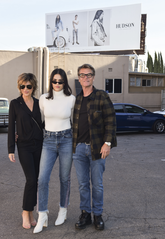 Lisa Rinna, Amelia Gray Hamlin, and Harry Hamlin celebrate Hudson Jeans billboard unveiling on March 6, 2018 in West Hollywood, California