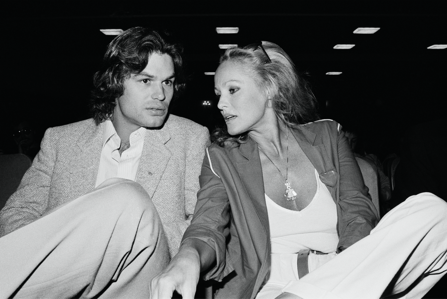 American actor Harry Hamlin and Swiss actress and a sex symbol Ursula Andress attend the 1979 Deauville American Film Festival