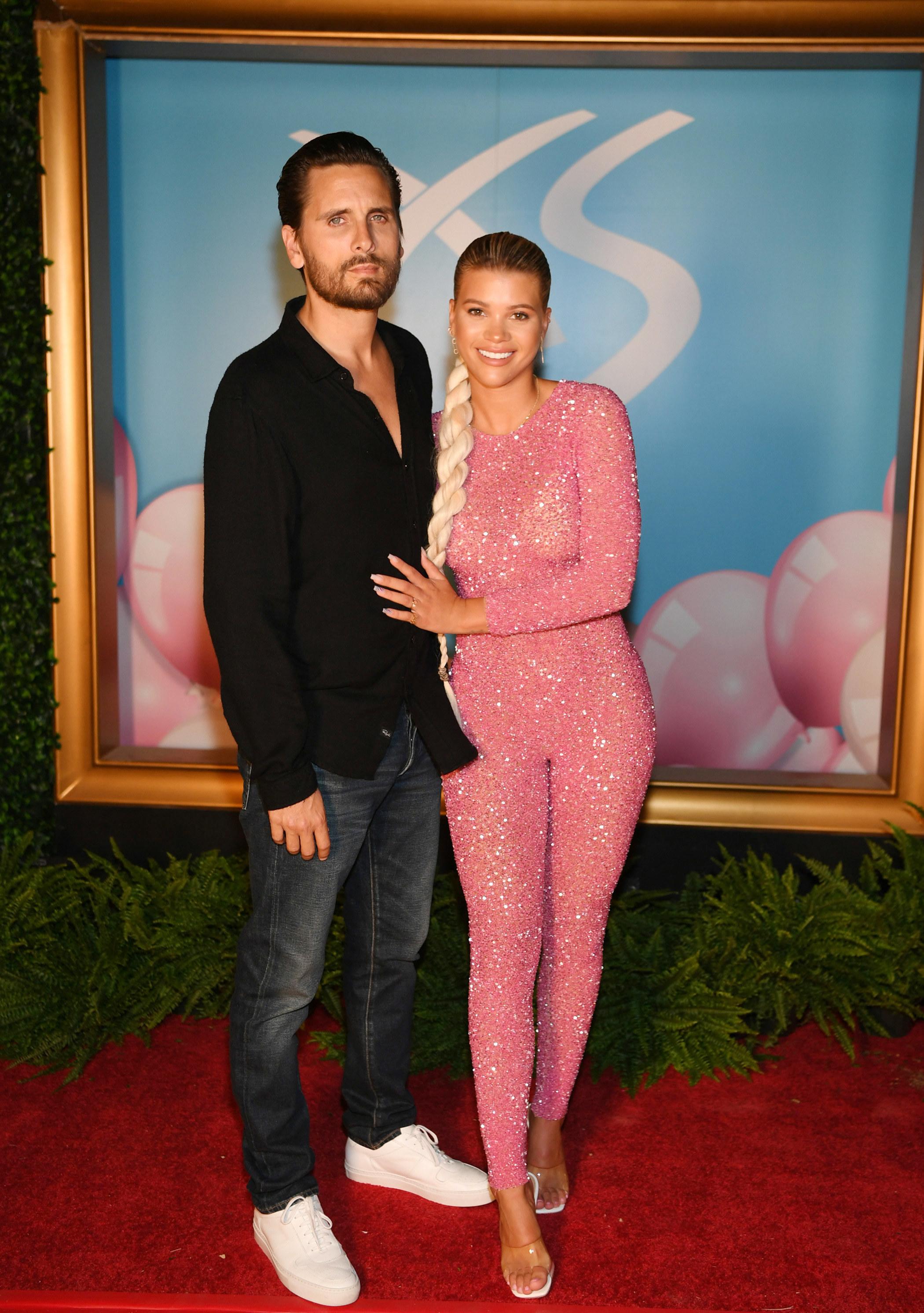 Scott Disick and Sofia Richie arrive at Sophia Richie's 21st birthday celebration at XS Nightclub at Wynn Las Vegas on August 24, 2019 in Las Vegas, Nevada