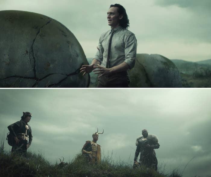 Loki talking to Kid Loki, Classic Loki, and Boastful Loki