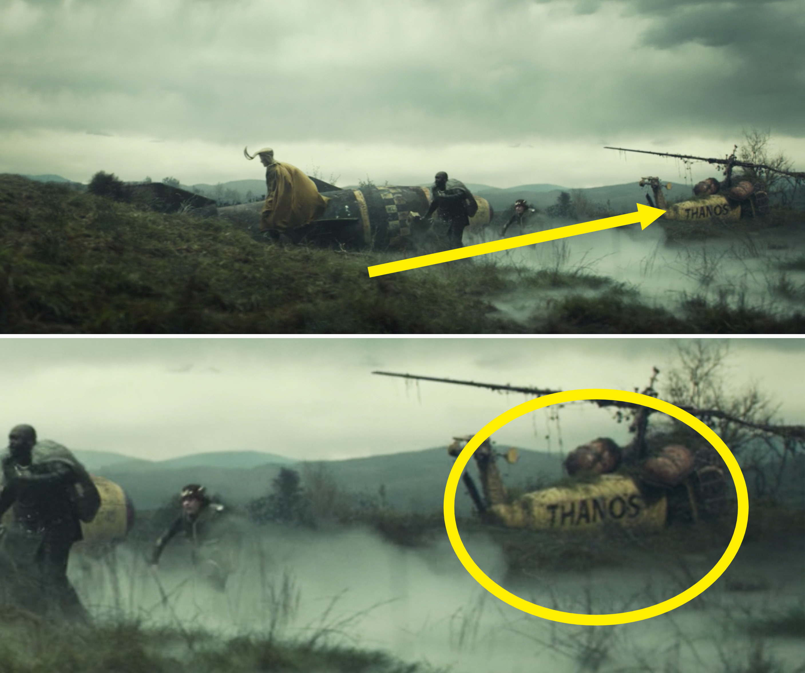"""The Lokis walking past a yellow helicopter reading, """"Thanos"""""""