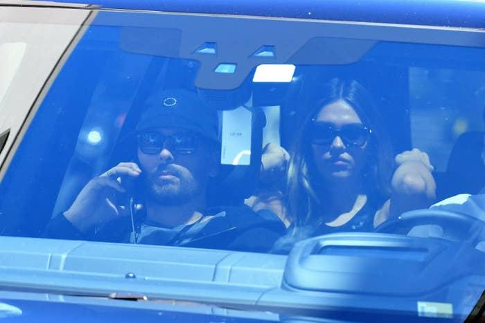 Scott Disick and Amelia Hamlin are seen on April 8, 2021 in Miami, Florida