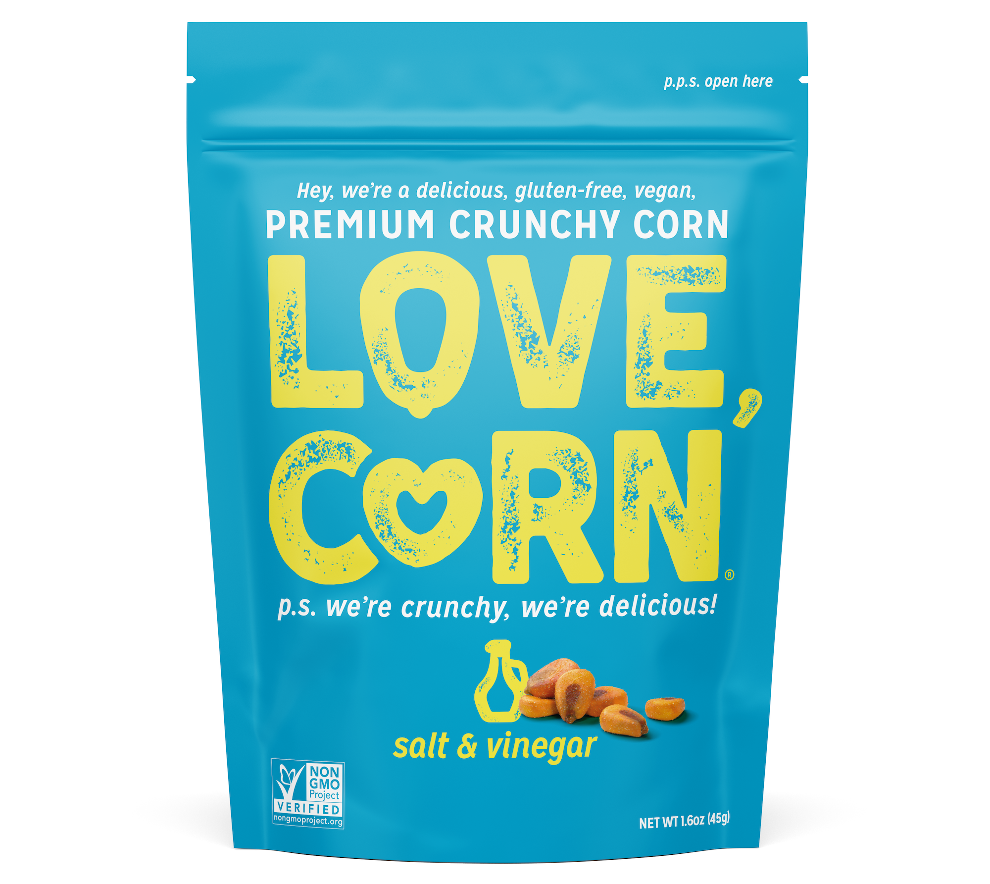 """A blue bag that says """"love, corn"""" in big yellow letters"""