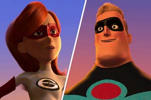 """Elastigirl wears a red mask and white super suit with an """"E"""" on the chest. Mr. Incredible wears a black mask and a blue super suit."""