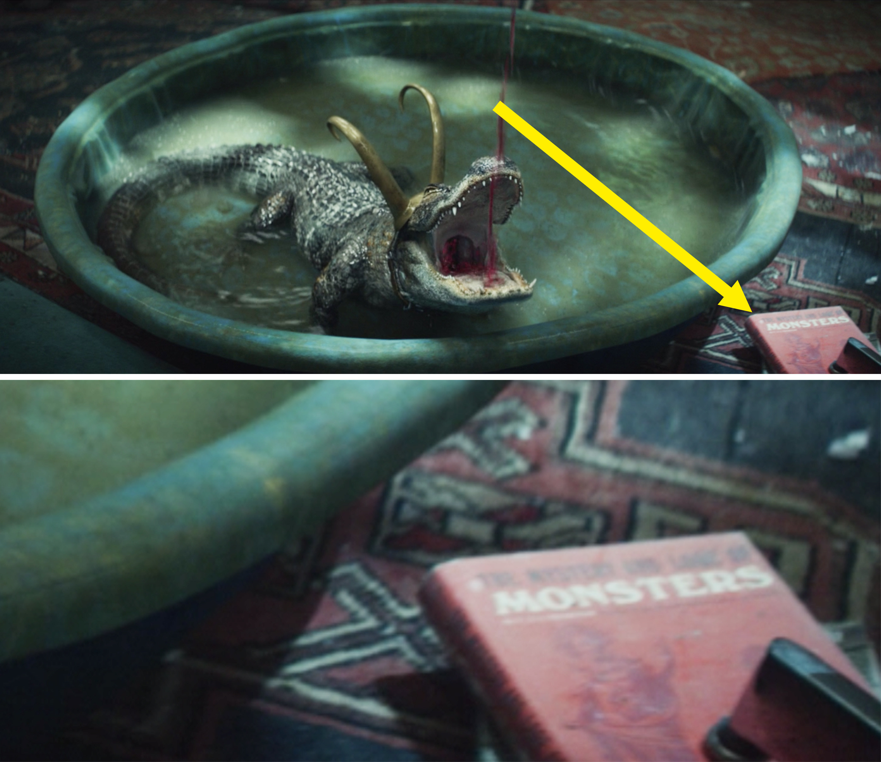 Alligator Loki drinking wine in a kiddie pool next to a book