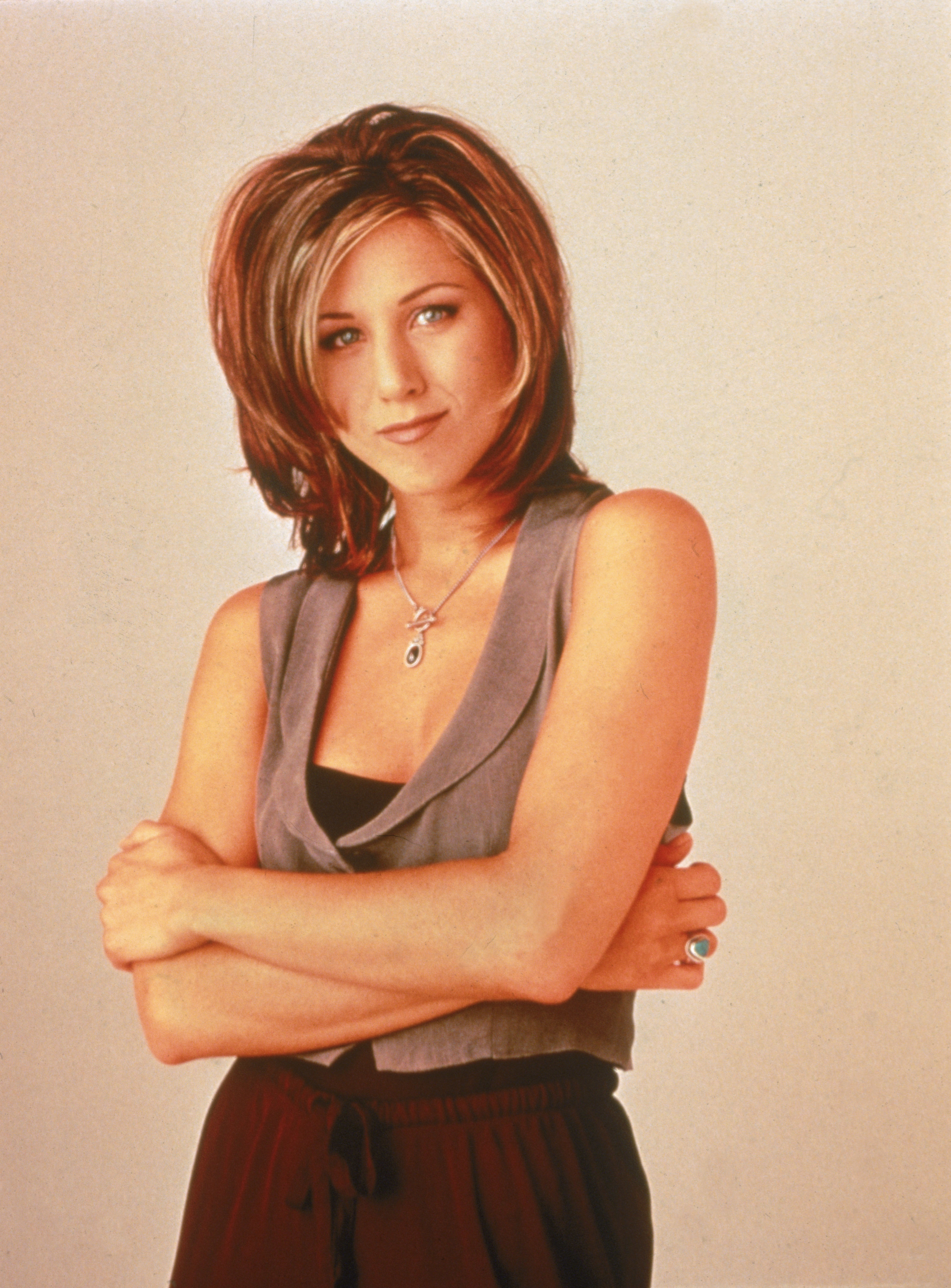 Promotional portrait of American actor Jennifer Aniston for the television series, 'Friends,' taken in 1995