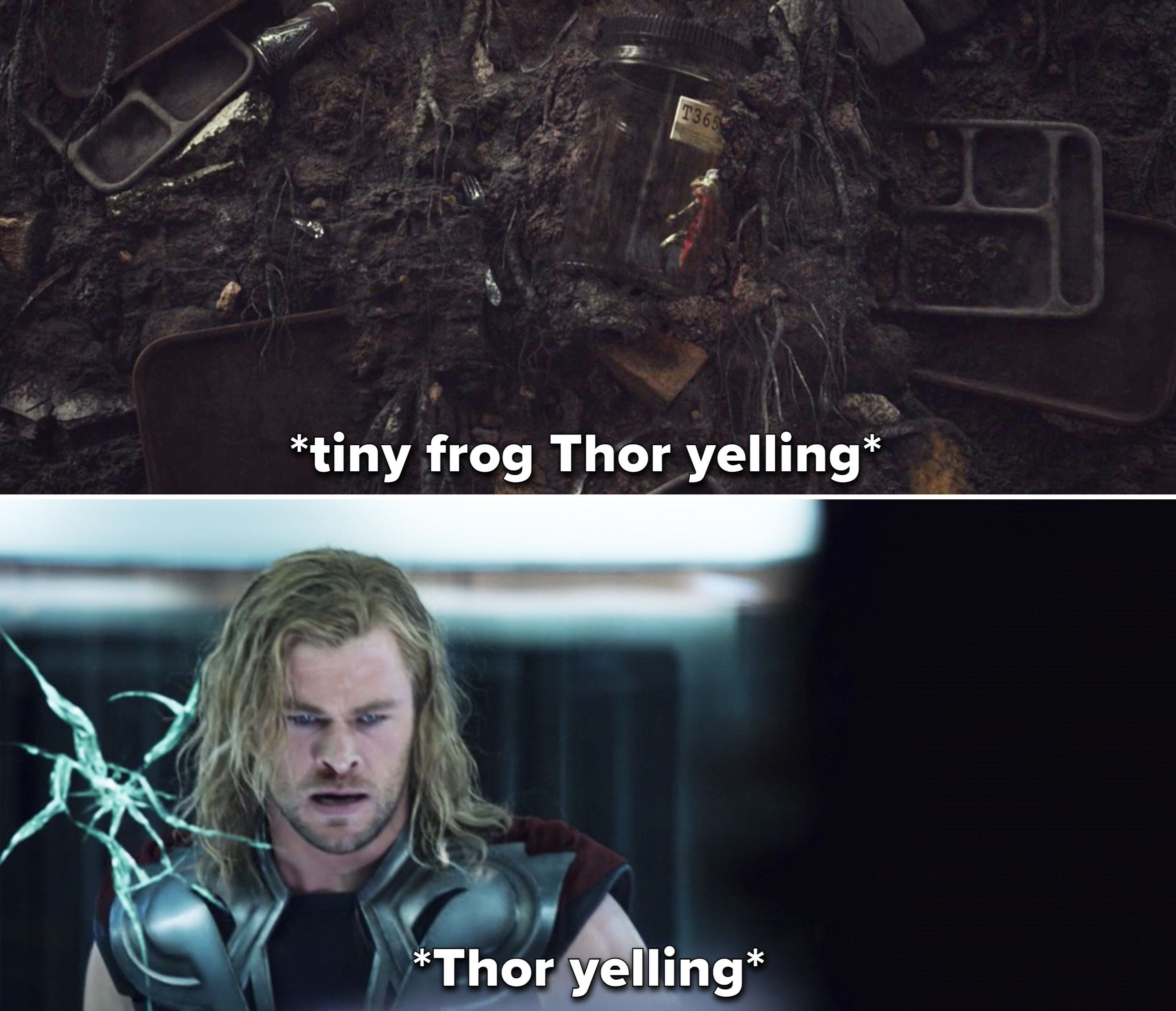 Frog Thor trapped in a glass bottle vs. Thor trapped behind glass