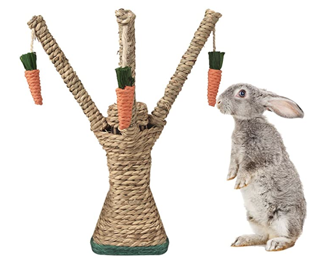 bunny sniffing carrot tree toy
