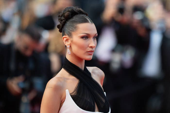 """Bella Hadid attends the """"Annette"""" screening and opening ceremony during the 74th annual Cannes Film Festival on July 06, 2021 in Cannes, France"""