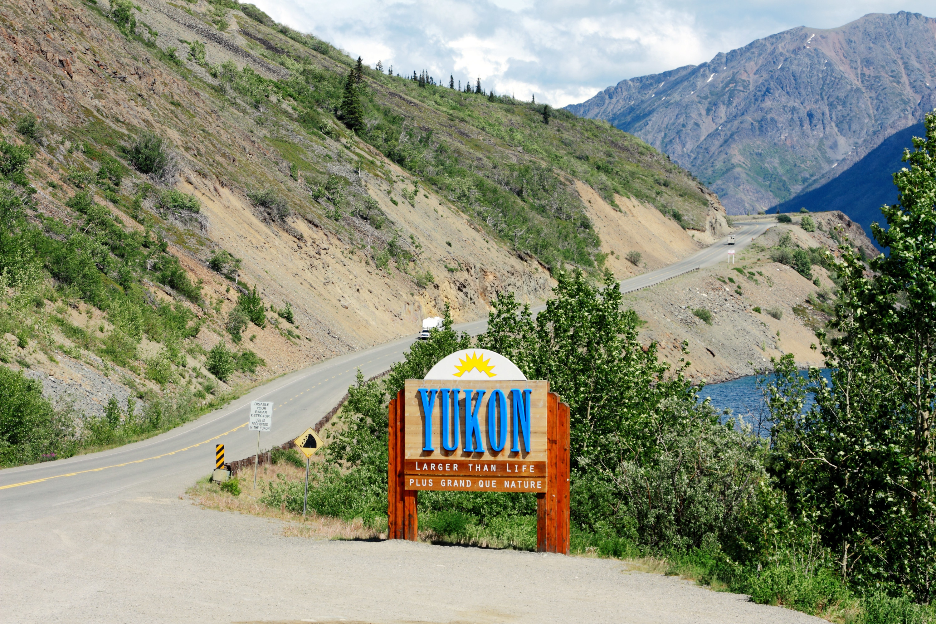 Welcome to Yukon sign on South Klondike Highway at the border of Yukon and British Columbia in Canada