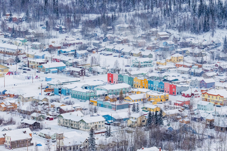 aerial shot of Dawson City