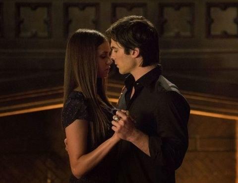damon and elena dance in a dark room