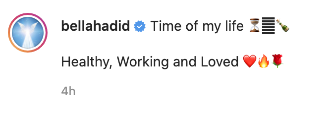 """A screenshot of Bella Hadid's Instagram caption, which reads, """"Time of my life, healthy, working, and loved"""""""