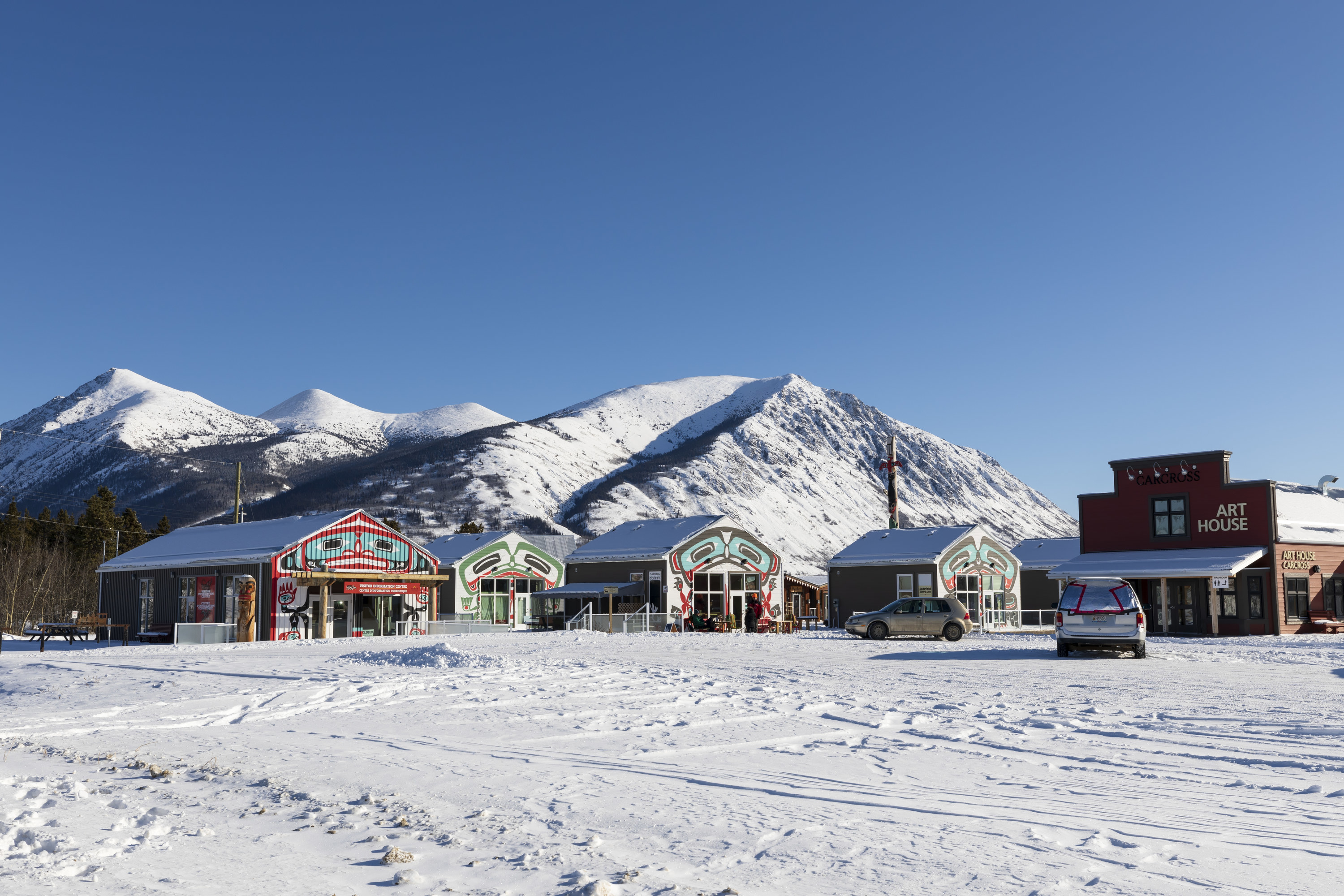 Carcross Commons, a retail village showcasing First Nations culture, art and crafts, Yukon, Canada