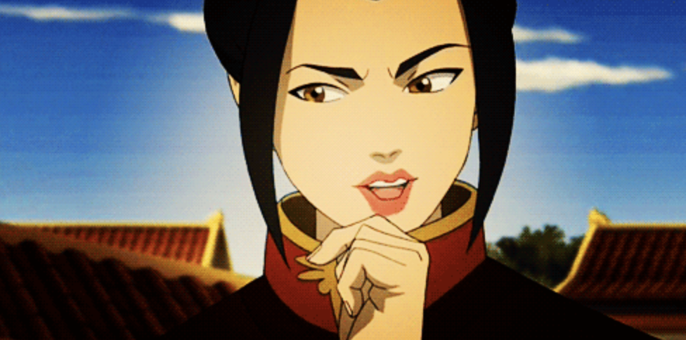 Azula looking puzzled with her hand on her chin