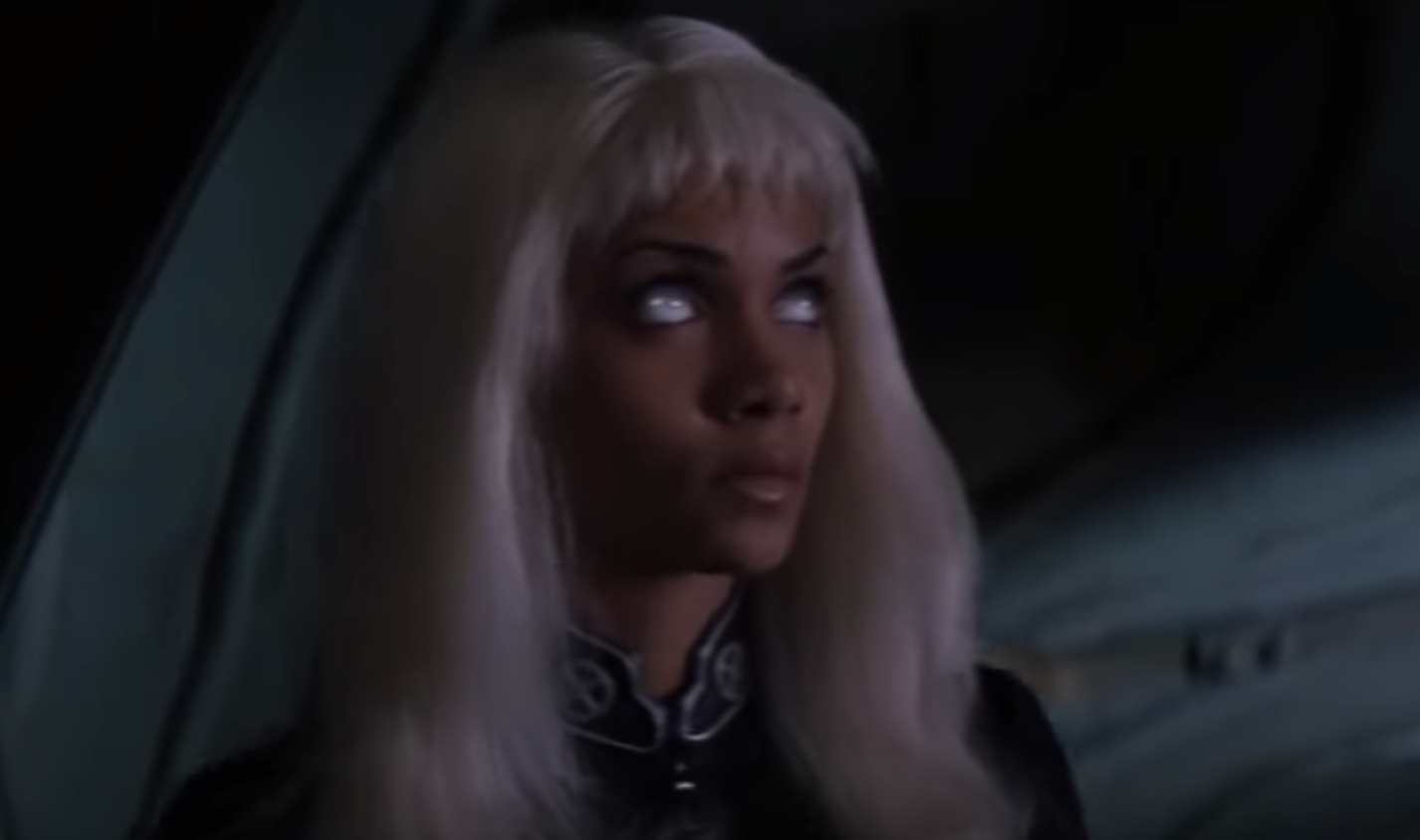 Halle Berry in a white wig with extremely short bangs