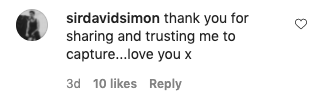 """An Instagram comment reads """"thank you for sharing and trusting me to capture, love you x"""""""