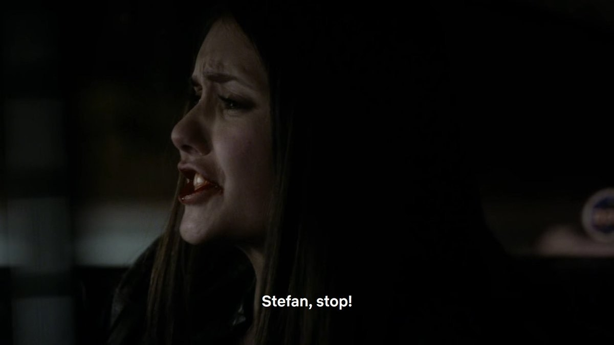 """elena is in the passenger seat of a car yelling """"stefan stop"""""""