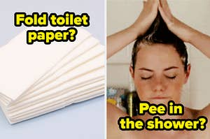 """folded toilet paper on the left and emma stone in the shower on the right with """"pee in the shower"""" written under her"""
