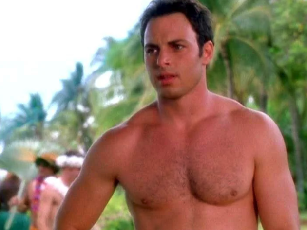 """Donnie shirtless on a beach in the """"Even Stevens Movie"""""""