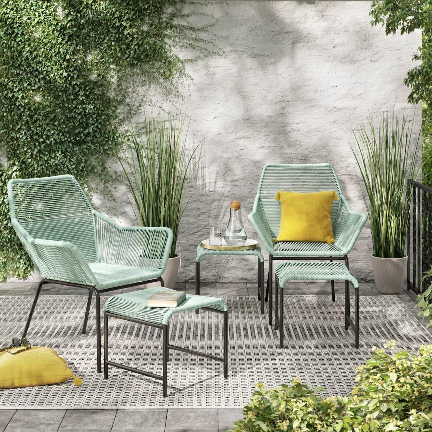 The cute mint green patio set