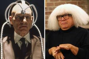 Patrick Stewart as Professor X in the X-Men movies and Danny Devito as Frank Reynolds in It's Always Sunny in Philadelphia