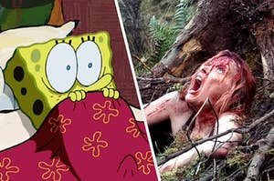Spongebob shaking with fear as he watches a girl covered in blood screaming