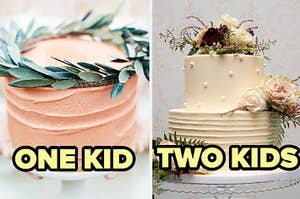 a small cake with leaves on top of the left with one kid written on it and a big cake with flowers on it on the right with two kids written under it
