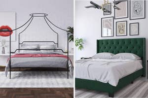 a black canopy bed and a green faux velvet upholstered bed frame