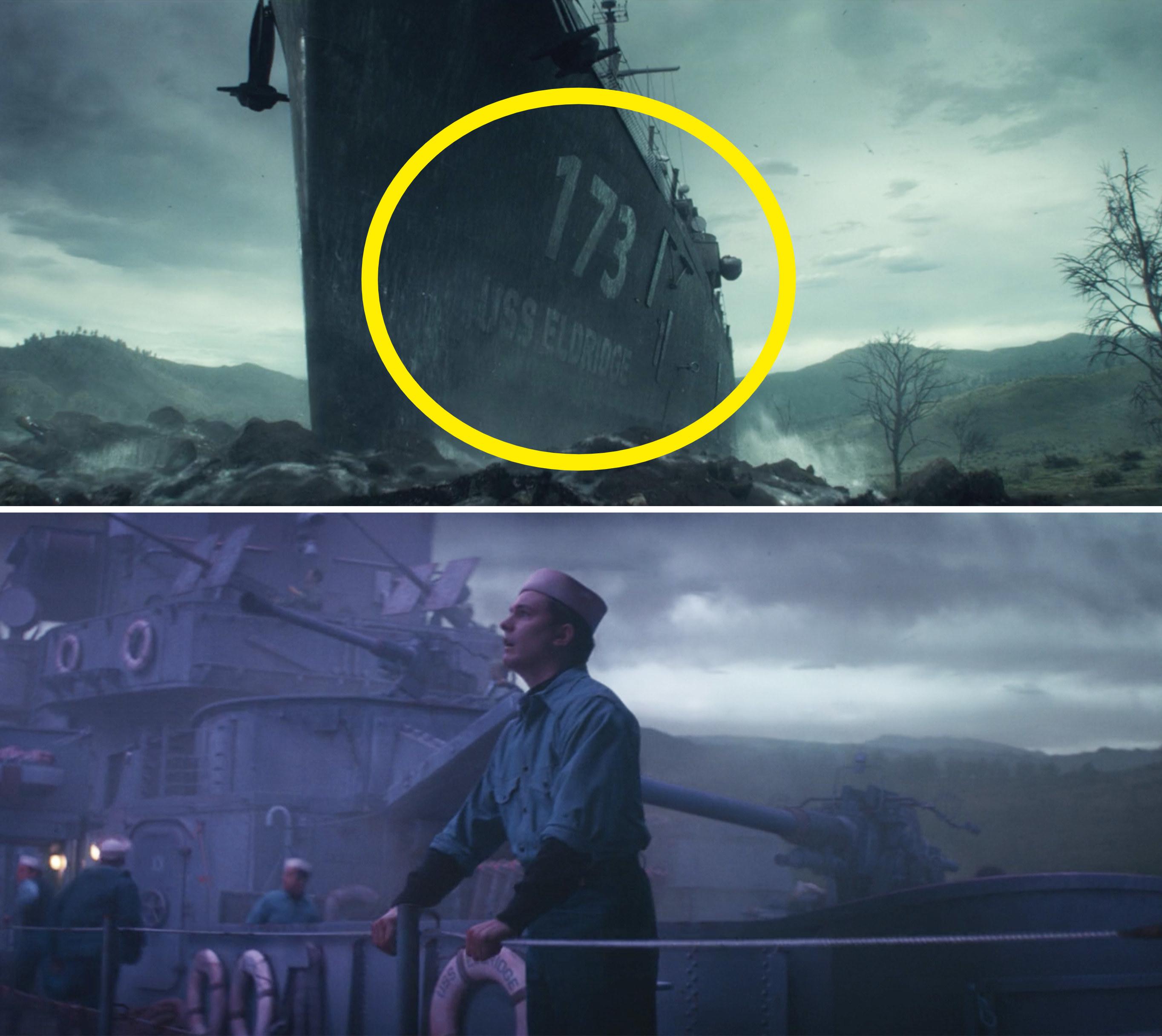 "A close-up of a ship reading, ""USS Eldridge 173"""