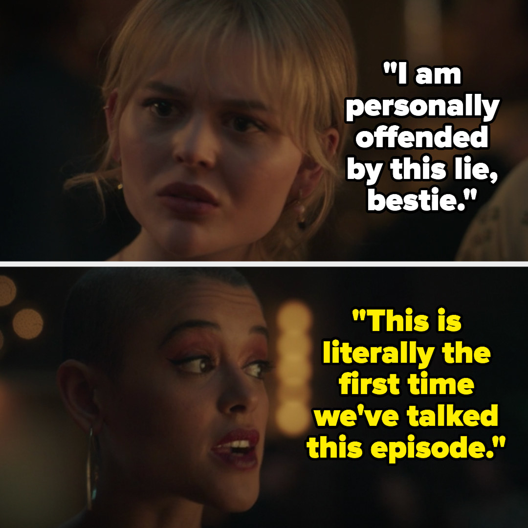 """Audrey with the caption """"I'm personally offended by this lie, bestie"""" with Julien's (fake) response being: """"This is literally the first time we've talked this episode"""""""