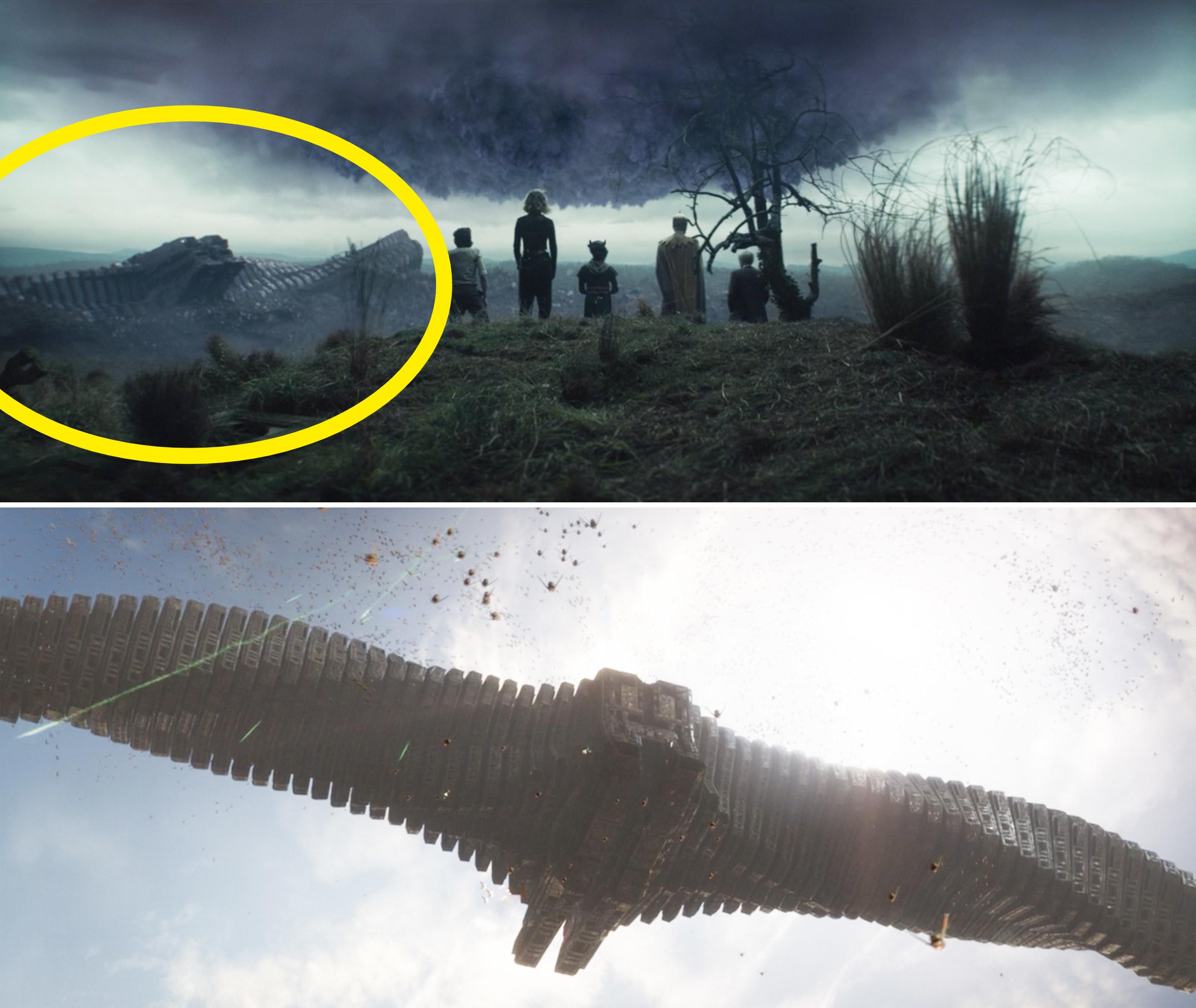 Ronan's ship in the void vs. flying in the sky