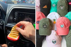 on left, hand dips french fry in car vent sauce holder. on right, colorful green and pink dad hats with patches on front