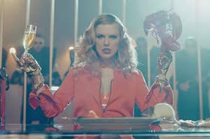 taylor swift eating lobster and drinking champagne