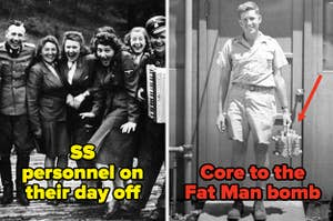 SS personnel posing for a photo, Harold Agnew holding the core to the Fat Man bomb