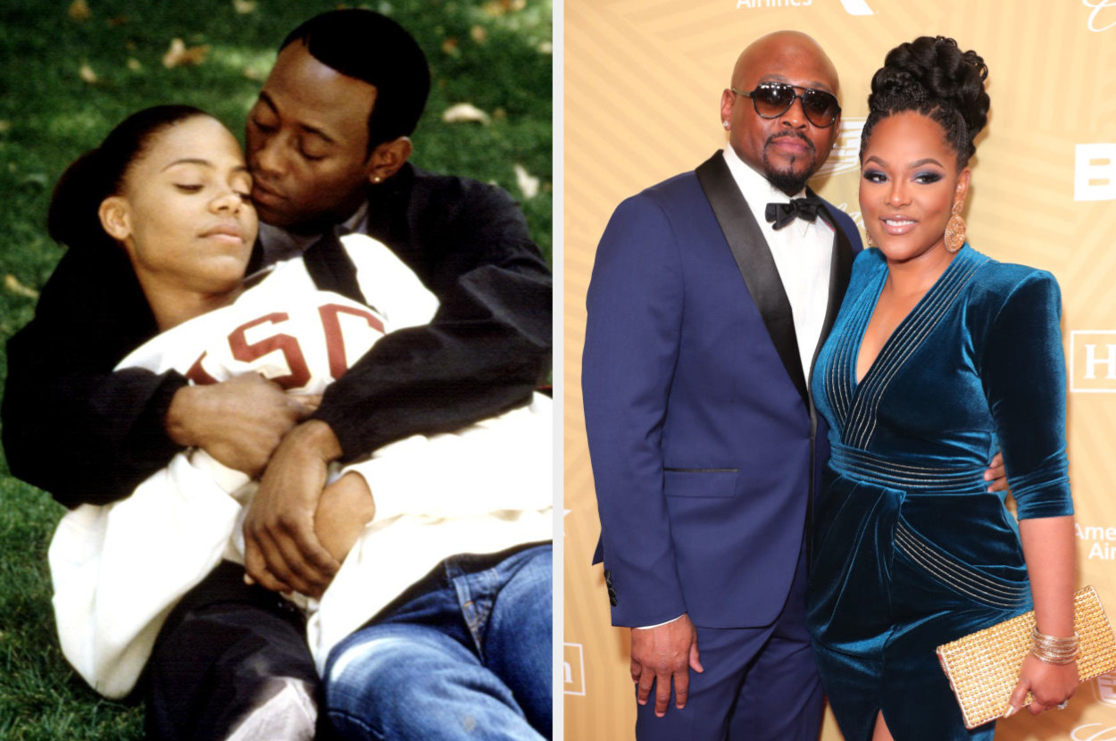 Omar Epps laying in the grass with his co-star on the left. Epps with his wife at the BET awards on the right.