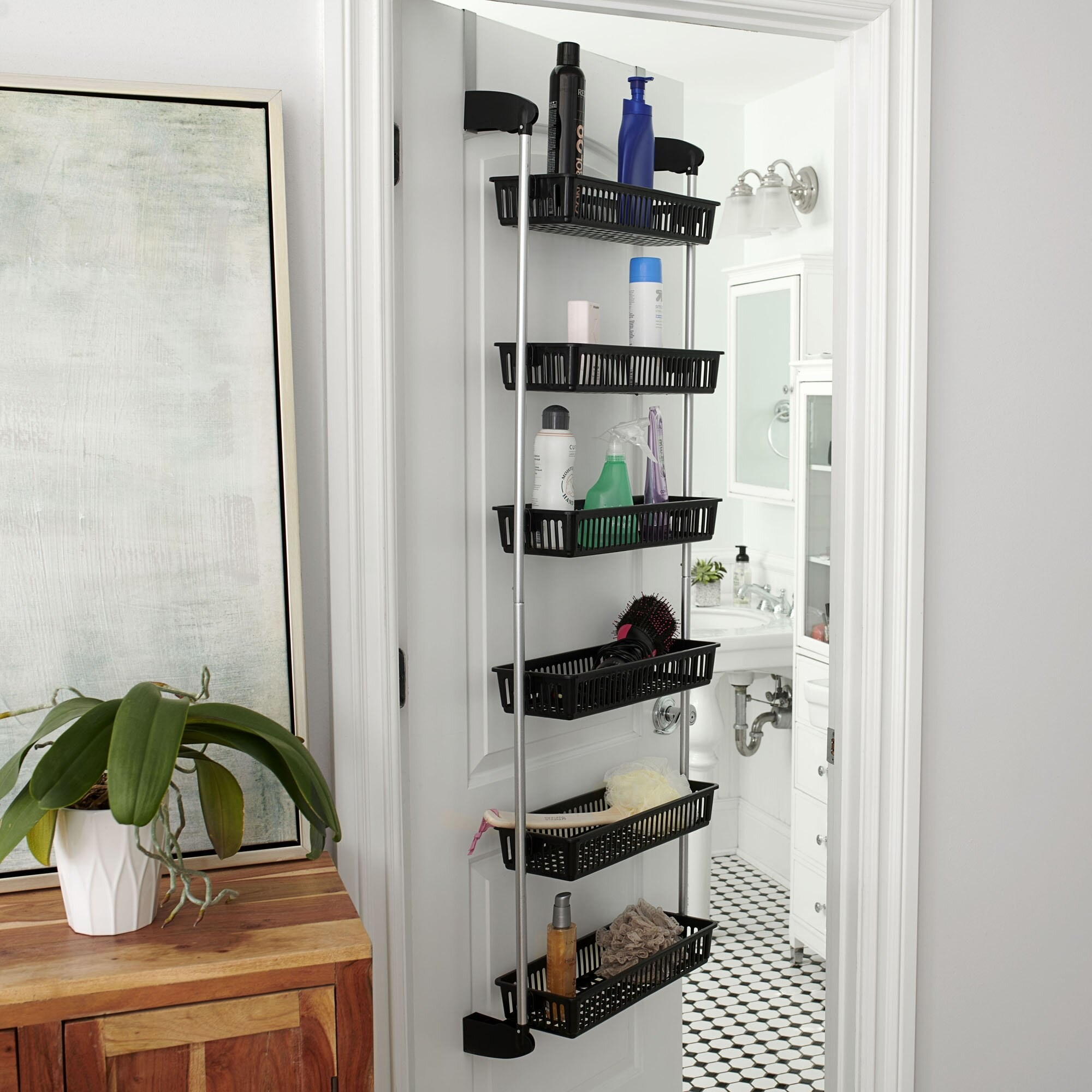 black over the door organizer with six baskets