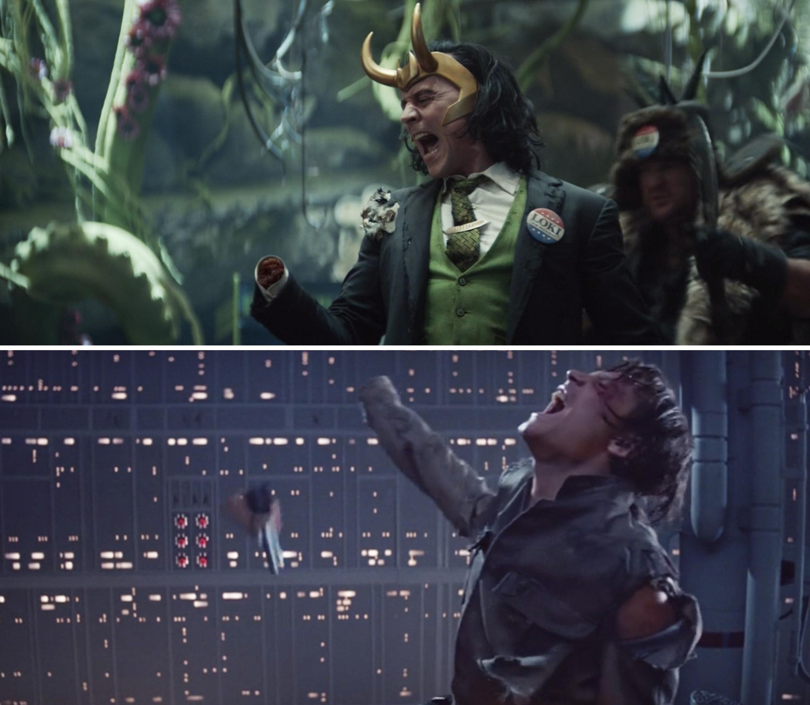 President Loki screaming after his hand is cut off vs. Luke Skywalker doing the same