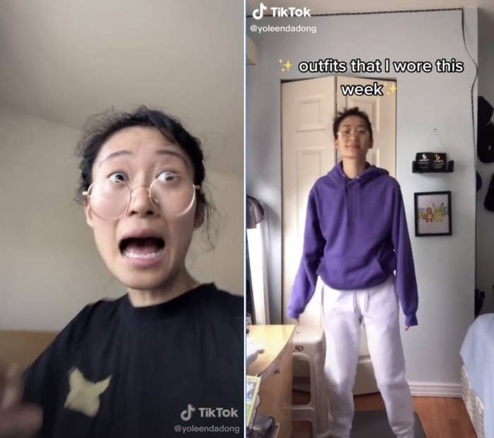 """Screenshot of TikToks by @yoleendadong. In one she's wearing a black t-shirt and appears to be yelling. In another she's in sweatpants and a sweatshirt with the text: """"outfits that I wore this week"""""""