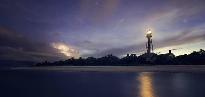 Sanibel Island lighthouse at dusk