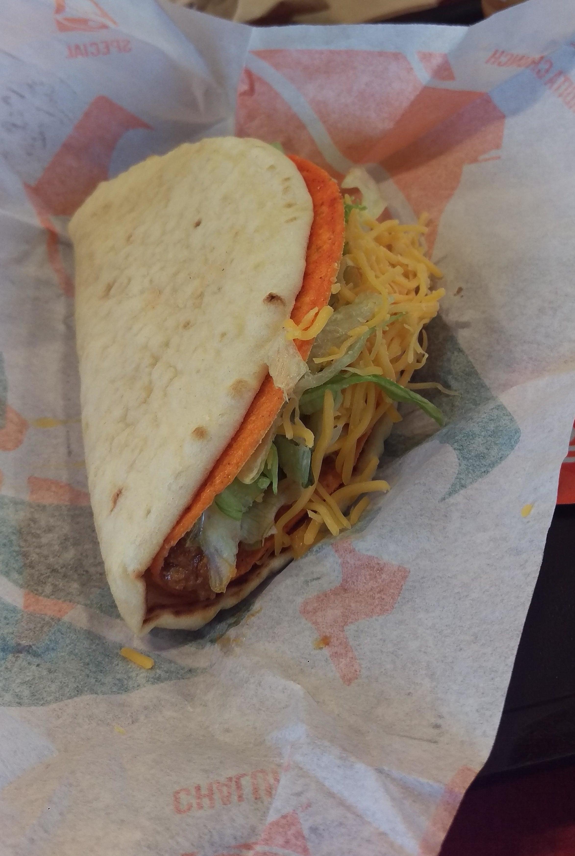 A cheesy gordito crunch in a Dorito taco shell.