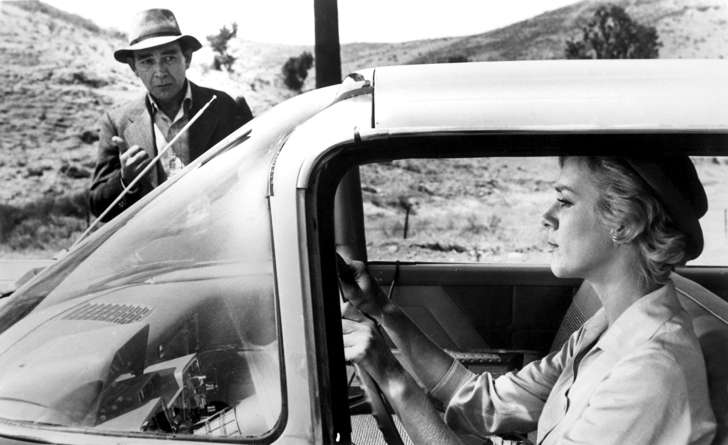 Leonard Strong hoping to catch a ride from Inger Stevens