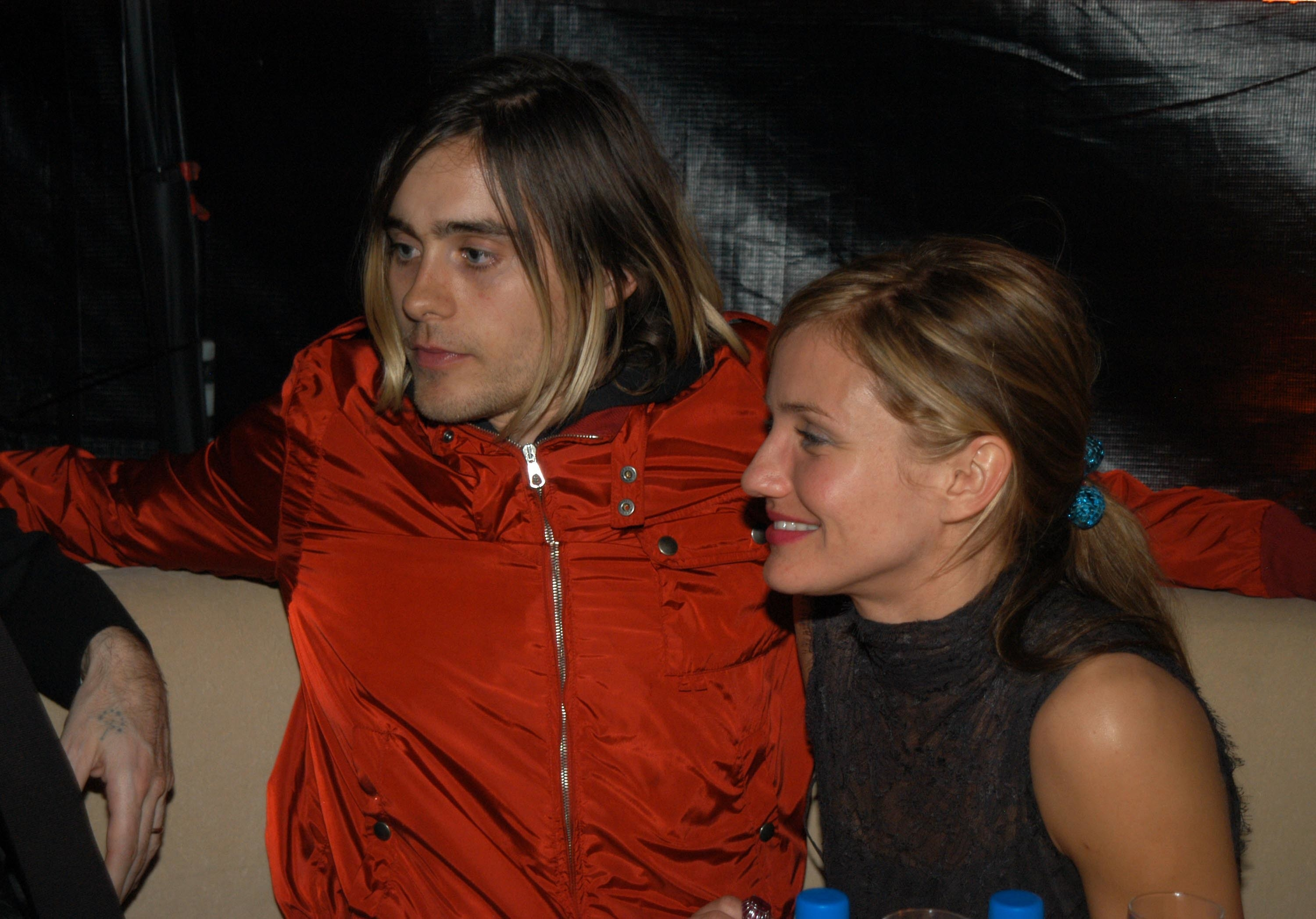 Jared Leto and Cameron Diaz hanging out backstage at an event in the early '00s